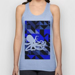 Octopus Geometric artwork in black and blue Unisex Tank Top