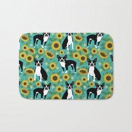 Boston Terrier sunflower floral dog breed pet portrait pet friendly pattern dogs gifts Bath Mat