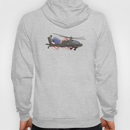 AH-64 Apache Helicopter with American Flag Hoody
