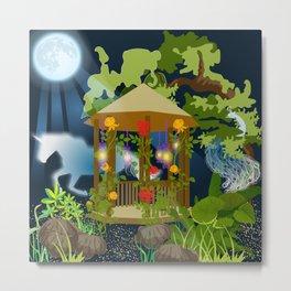 Full Moon Magical Garden Metal Print