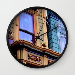 Grand Dame With Old Blue Wall Clock
