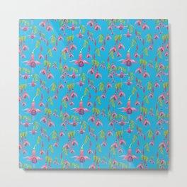 Watercolour Fuchsia Flower Pattern - Sky Blue Metal Print