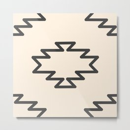 Southwest Azteca - Geometric Pattern in Charcoal Gray and Almond Cream Metal Print