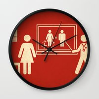 sex and the city Wall Clocks featuring Sex change by Rodrigo Ferreira