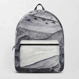 Forest Mountain Range Birds Flying Past Watercolor Painting Backpack