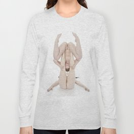 2530-PJ+AJ Happy Naked Girls Playing Airplane Together High Key Nude Long Sleeve T-shirt
