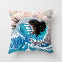 custom Throw Pillows featuring The Unstoppabull Force by Mat Miller