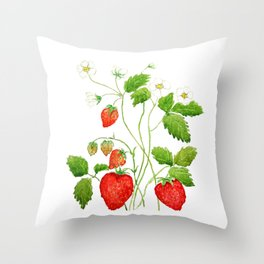 strawberry and strawberry flowers watercolor painting Throw Pillow