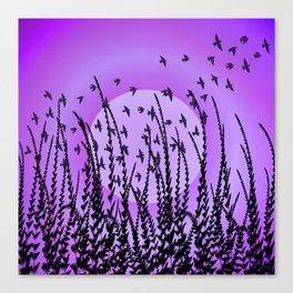 Sky, Sun & Birds (violet) Canvas Print