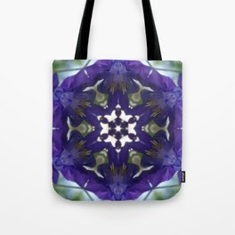 Blue columbine mandala 2 Tote Bag