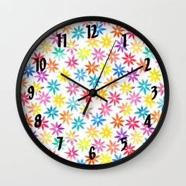 Vibrant Colors Floral Pattern Wall Clock