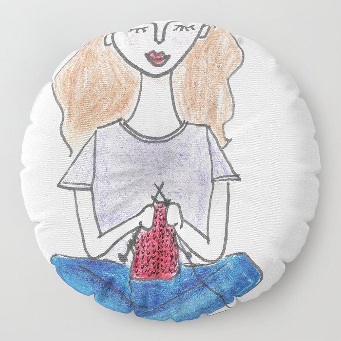Knitting in color Floor Pillow