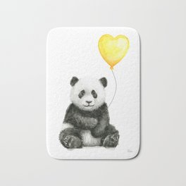 Panda with Yellow Balloon Baby Animal Watercolor Nursery Art Bath Mat