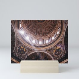 Photo of Rays of Sunlight through Saint Peter's Basilica, the Church in Vatican City in Rome, Italy II   Fine Art Colorful Travel Photography    Mini Art Print