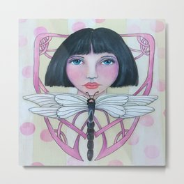 Art Deco Face and Dragonfly Metal Print