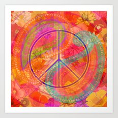 Hippie Chic Paisley Flowers Peace Art Print