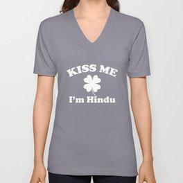 Kiss Me I'm Hindu Clover St Patricks Day Shamrock Unisex V-Neck