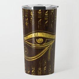 Golden Egyptian Eye of Horus  and hieroglyphics on wood Travel Mug