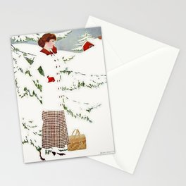"""C Coles Phillips 'Fadeaway Girl' """"Winter Snowscape"""" Stationery Cards"""