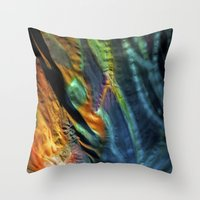 hippy Throw Pillows featuring Hippy Flag by Mingo