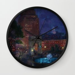 American Masterpiece 'Wet Night, Washington Square, Greenwich Village, NY' by John French Sloan Wall Clock