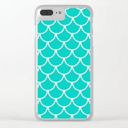 Aqua Blue Fish Scales Pattern Clear iPhone Case