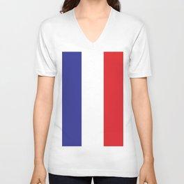 French Flag Blue White Red Francophile France Print Unisex V-Neck