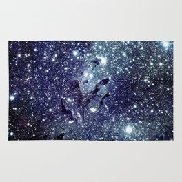 The Eagle Nebula / Pillars of Creation Midnight Indigo Teal Blue Rug