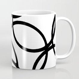 Interlocking Black Circles Artistic Design Coffee Mug