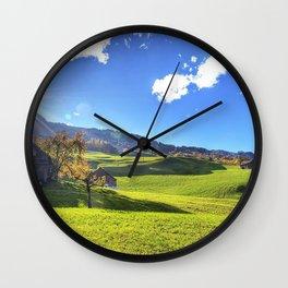 sun light lodge fields lawns slopes beams autumn indian summer heat Wall Clock