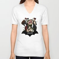 selena V-neck T-shirts featuring the Gotham Sirens by Esteban Barrientos