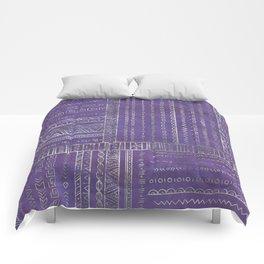 Tribal Ethnic pattern silver on  purple Comforters