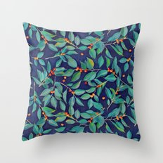 Leaves + Berries in Navy Blue, Teal & Tangerine Throw Pillow