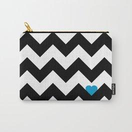 Heart & Chevron - Black/Blue Carry-All Pouch