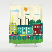 industrial Shower Curtains featuring Industrial area by Design4u Studio