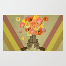 In my world, flowers come out of guns Rug