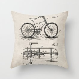Bike Patent - Bicycle Art - Antique Throw Pillow