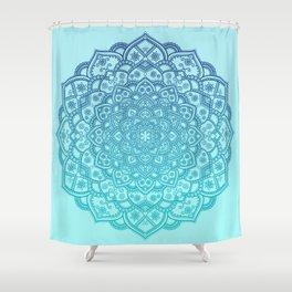 Mandala Seafoam Blue Aqua Ombre Bohemian Embellishments Shower Curtain