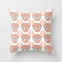 sphynx Throw Pillows featuring Sphynx by Shaye Display Illustrations