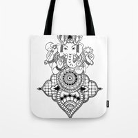 ganesh Tote Bags featuring Ganesh by N.I.S.