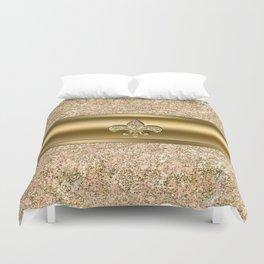 Pink & Gold Glitter Fleur De Lis Duvet Cover