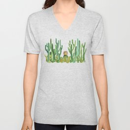 In my happy place - hedgehog meditating in cactus jungle Unisex V-Neck