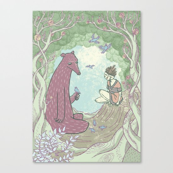 Bear and Bird Canvas Print