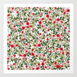 Christmas Floral Pattern Art Print