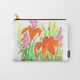 Orange Summer Lilies and Pink Flowers / Wildflowers / Summer Fields of Flowers Carry-All Pouch