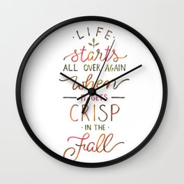 Crisp in the Fall - The Great Gatsby quote Wall Clock