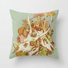 skulls in spring Throw Pillow