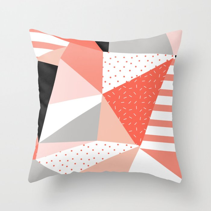 Just Peachy Stripes: Retro 80s Triangle Pattern And Neon Pop Art 1980s Style Throw Pillow