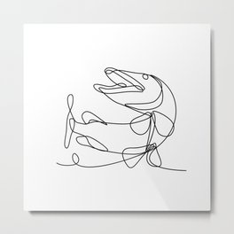 Muskellunge Muskie Musky Esox Masquinongy or Lunge Jumping Up Continuous Line Drawing Metal Print
