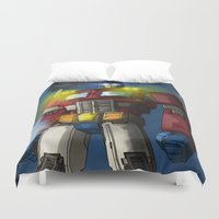 optimus prime Duvet Covers featuring Optimus Prime, Hero of Cybertron by Brandon Draws